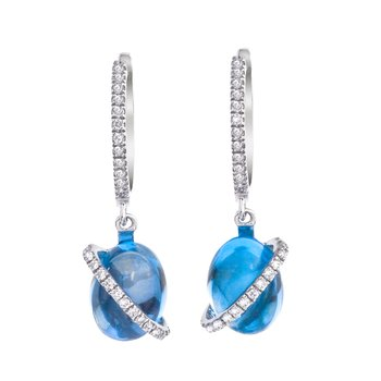 14K White Gold Cabochon Blue Topaz and Diamond Earrings