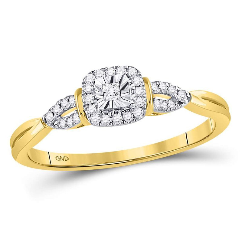 Gold-N-Diamonds, Inc. (Atlanta) 14kt Yellow Gold Womens Princess Diamond Solitaire Bridal Wedding Engagement Ring 1/10 Cttw