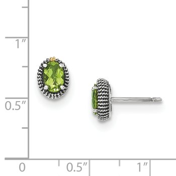 Sterling Silver w/14k Oval Peridot Post Earrings
