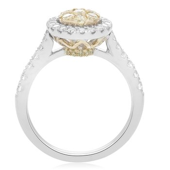 Pave Shank Two Tone Diamond Ring