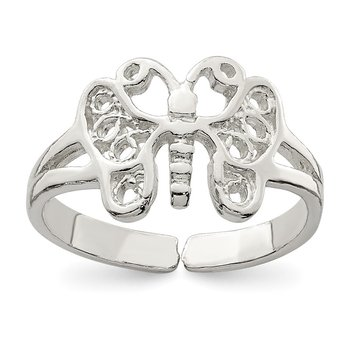 Sterling Silver Butterfly Toe Ring