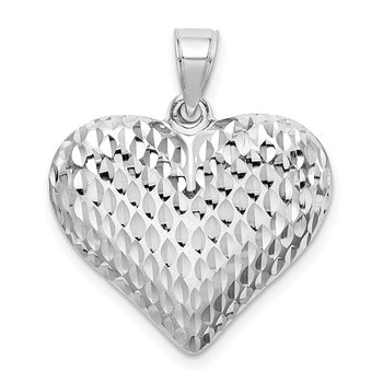 Sterling Silver Rhodium-plated Diamond-cut Puffed Heart Pendant
