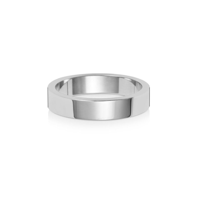 Treasure Platinum 4mm Flat Flat Wedding Ring