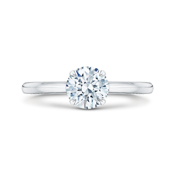 14K White Gold Round Cut Diamond Solitaire Engagement Ring (Semi-Mount)