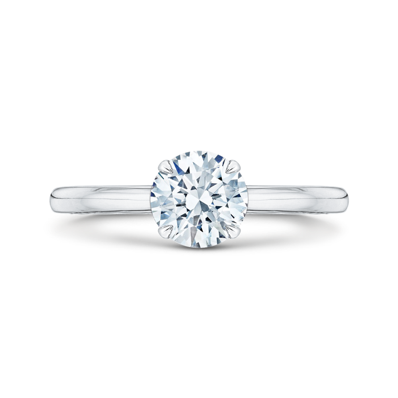 Carizza 14K White Gold Round Cut Diamond Solitaire Engagement Ring (Semi-Mount)