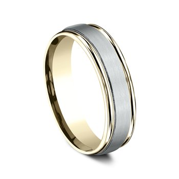 6mm Comfort-Fit Wedding Ring in 14K White and Yellow Gold