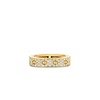1 Row Square Ring With Diamonds &Ndash; 18K Yellow Gold, 7.5