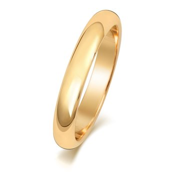 9Ct Yellow Gold 3mm D Shape Wedding Ring