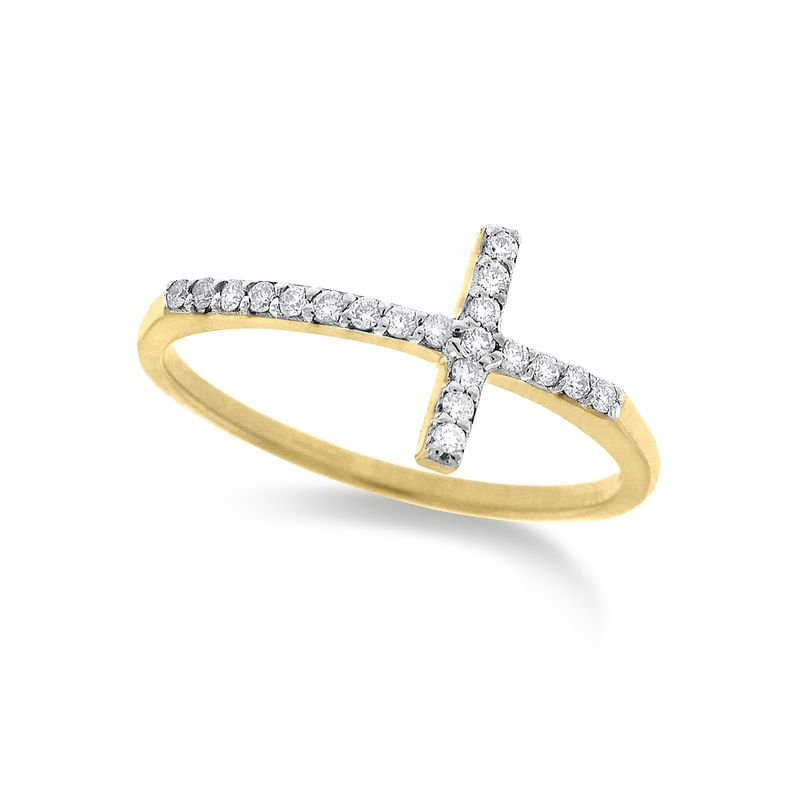 KC Designs Diamond Small Side Cross Ring in 14k Yellow Gold with 20 Diamonds weighing .12ct tw.