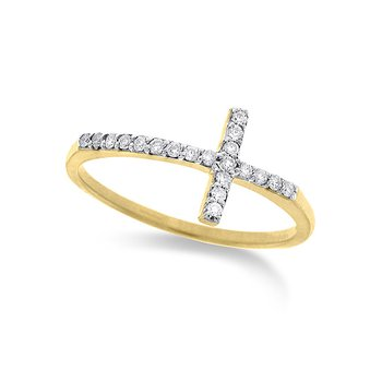 Diamond Small Side Cross Ring in 14k Yellow Gold with 20 Diamonds weighing .12ct tw.