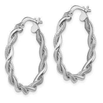 14k White Gold Medium 3mm Polished & Diamond-cut Twisted Hoops