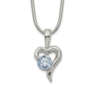 Sterling Silver Purple CZ Heart Necklace