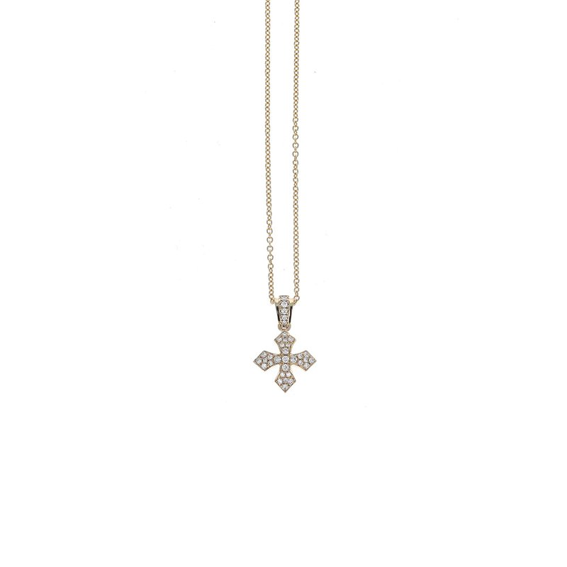 King Baby Gold Mb Cross Pendant W/ Pave Diamonds In Bale & Mb Cross