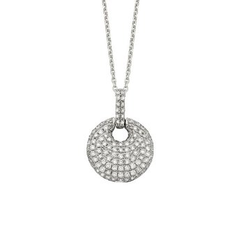 Diamond Circle Drop Necklace in 14K White Gold with 109 diamonds weighing .44ct tw