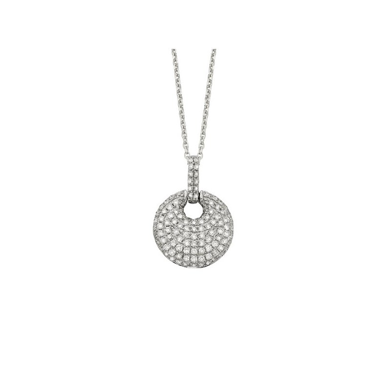 KC Designs Diamond Circle Drop Necklace in 14K White Gold with 109 diamonds weighing .44ct tw
