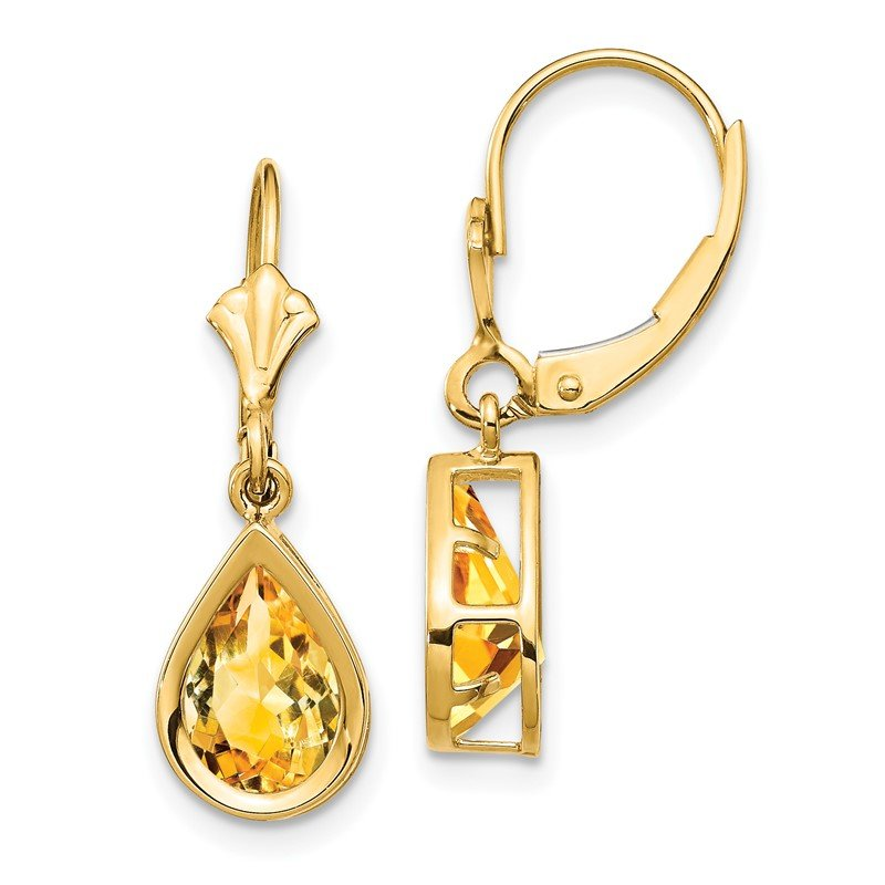 Quality Gold 14k 9x6mm Pear Citrine Leverback Earrings