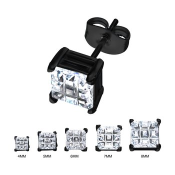 Stainless Steel and Black Plated with Hashtag CZ Square Cut Stud Earrings