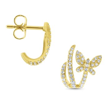 Gold and Diamond Butterfly in Flight Earrings