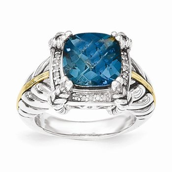 Sterling Silver w/14k London Blue Topaz w/Diamond Ring