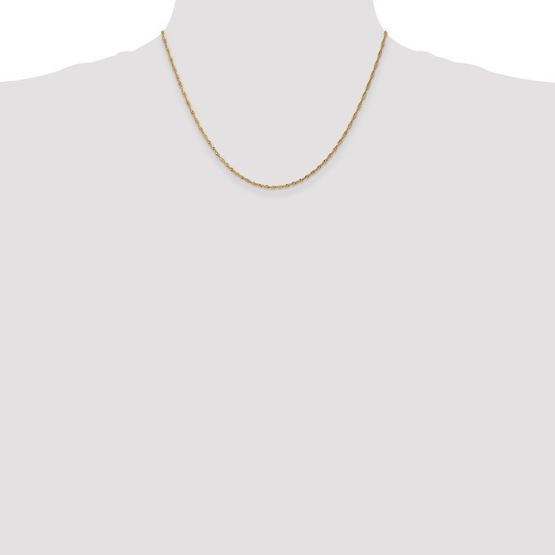 Quality Gold 14k 1.4mm Singapore Chain Anklet