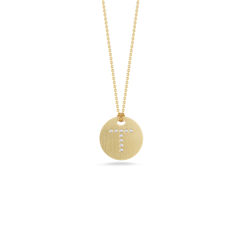 18Kt Gold Disc Pendant With Diamond Initial T