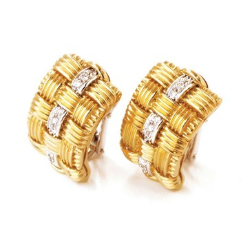 18KT GOLD 3 ROW EARRING WITH DIAMONDS