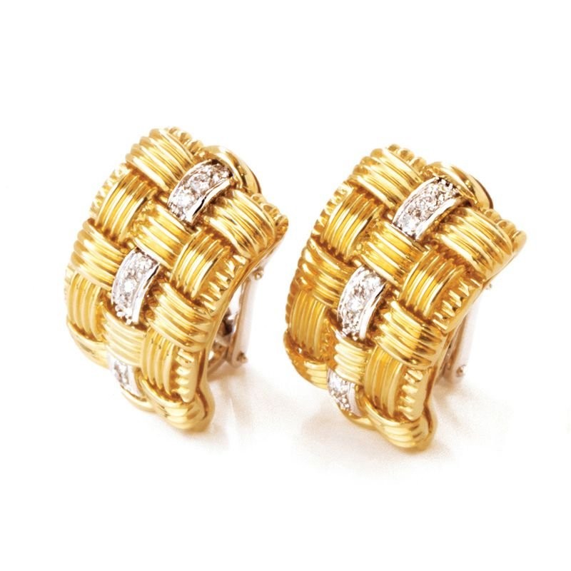 Roberto Coin 18Kt Gold 3 Row Earring With Diamonds