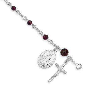 Sterling Silver & Rhodolite Garnet Polished Children's Rosary 6in Bracelet