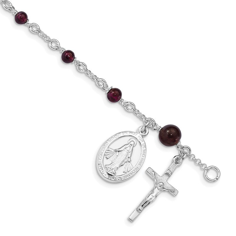 Quality Gold Sterling Silver & Rhodolite Garnet Polished Children's Rosary Bracelet