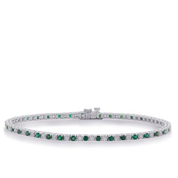 White Gold Emerald & Dia Bracelet