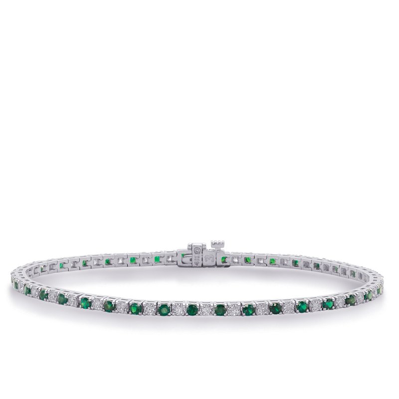 S. Kashi  & Sons White Gold Emerald & Dia Bracelet