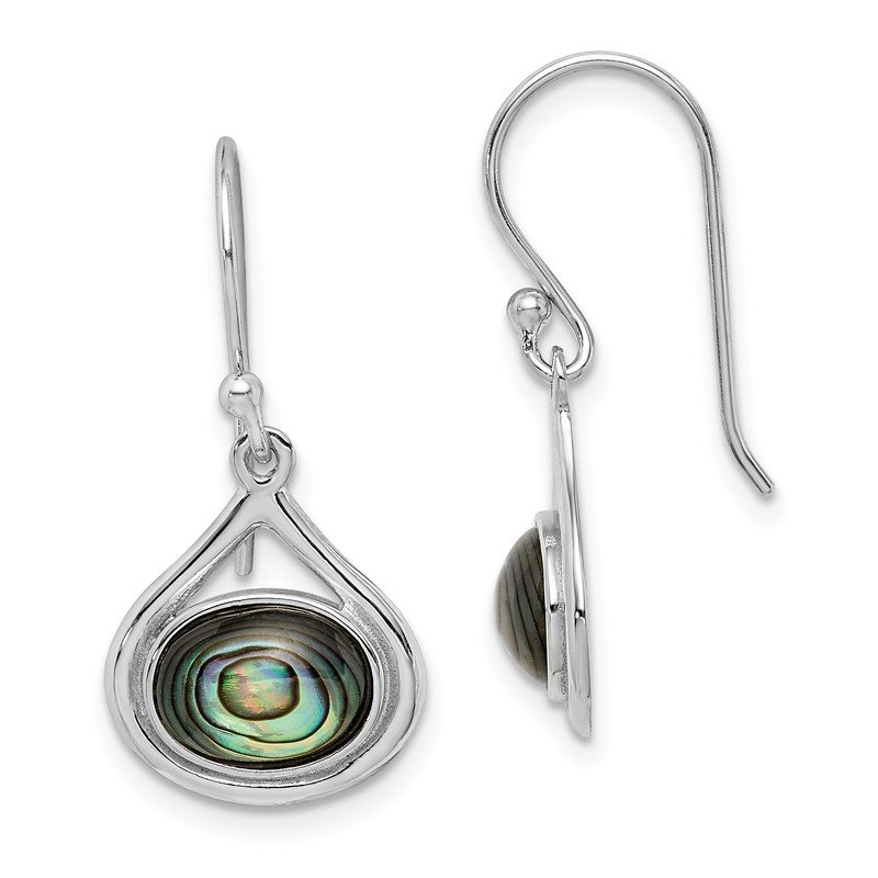 Quality Gold Sterling Silver Rhodium-plated Abalone Shepherd Hook Earrings