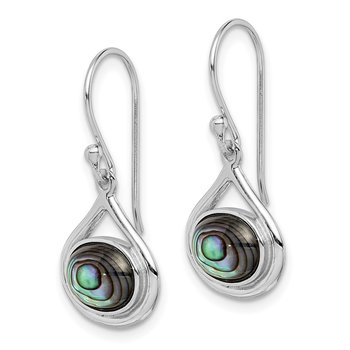 Sterling Silver Rhodium-plated Abalone Shepherd Hook Earrings