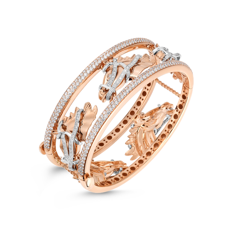 Roberto Coin Wide Cheval Bangle With Diamonds