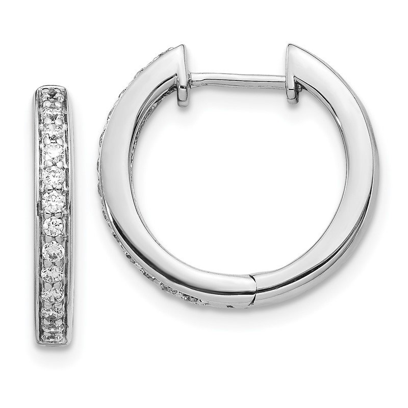 Quality Gold 14k White Gold Diamond Complete Hinged Hoop Earrings