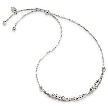 Sterling Silver Polished Beaded 2-Strand Adjustable Bracelet