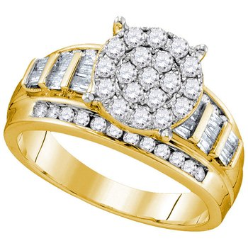10kt Yellow Gold Womens Round Diamond Cindys Dream Cluster Bridal Wedding Engagement Ring 1.00 Cttw - Size 9