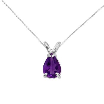 14k White Gold Pear Shaped Amythest Pendant