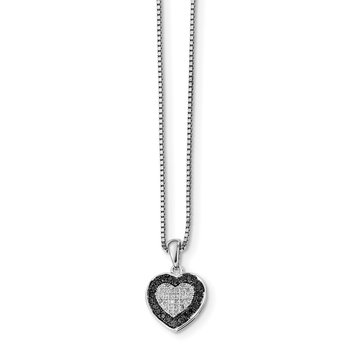 Sterling Silver Rhod Plated Black & White Diamond Heart Pendant Necklace