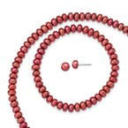 Quality Gold Sterling Silver Red 6-7mm FW Cultured Pearl Set