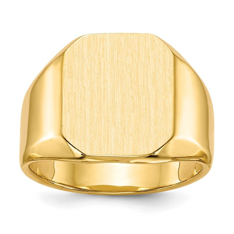 Quality Gold 14k 15.5x13.0mm Closed Back Men's Signet Ring