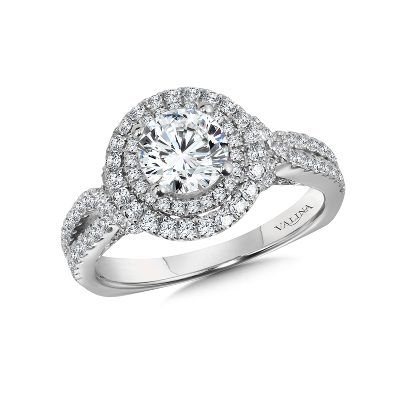 Valina Bridals Double Halo Engagement Ring Mounting in 14K White Gold (.82 ct. tw.)