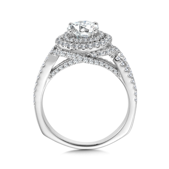 Double Halo Engagement Ring Mounting in 14K White Gold (.82 ct. tw.)