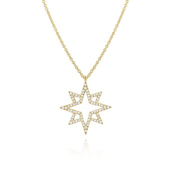 Diamond North Star Pendant Necklace Set in 14 Kt. Gold
