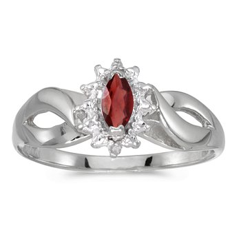 14k White Gold Marquise Garnet And Diamond Ring