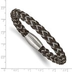 Chisel Stainless Steel Brushed Wire and Rubber Braided 8.5in Bracelet