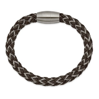 Stainless Steel Brushed Wire and Rubber Braided 8.5in Bracelet