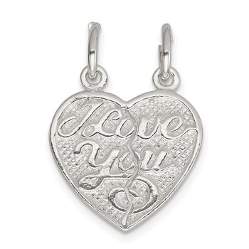Sterling Silver I Love You 2-piece break apart Heart Charm