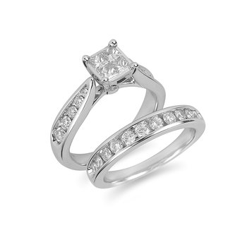 14K WG Diamond Engagement Invisible Setting Ring and Wedding Band