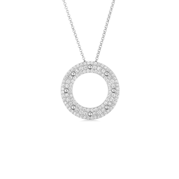 Circle Pendant With Diamonds &Ndash; 18K White Gold